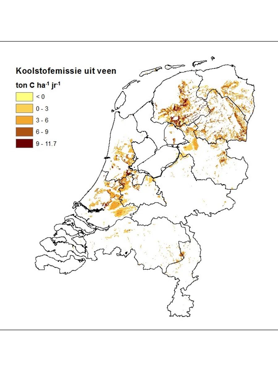 Ruimtelijk patroon van uitstoot van koolstof vanuit de Nederlandse bodem, 2013