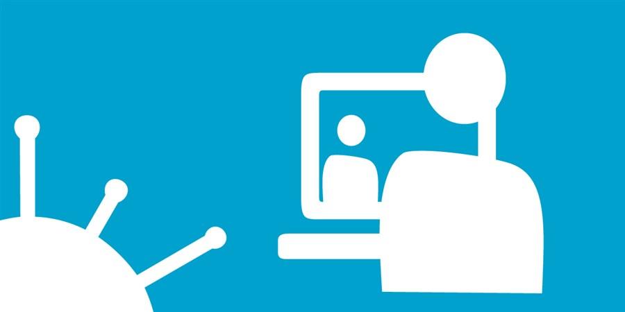 infographic Corona - Arbeidsmarkt poppetje voor beeldscherm, naast virus