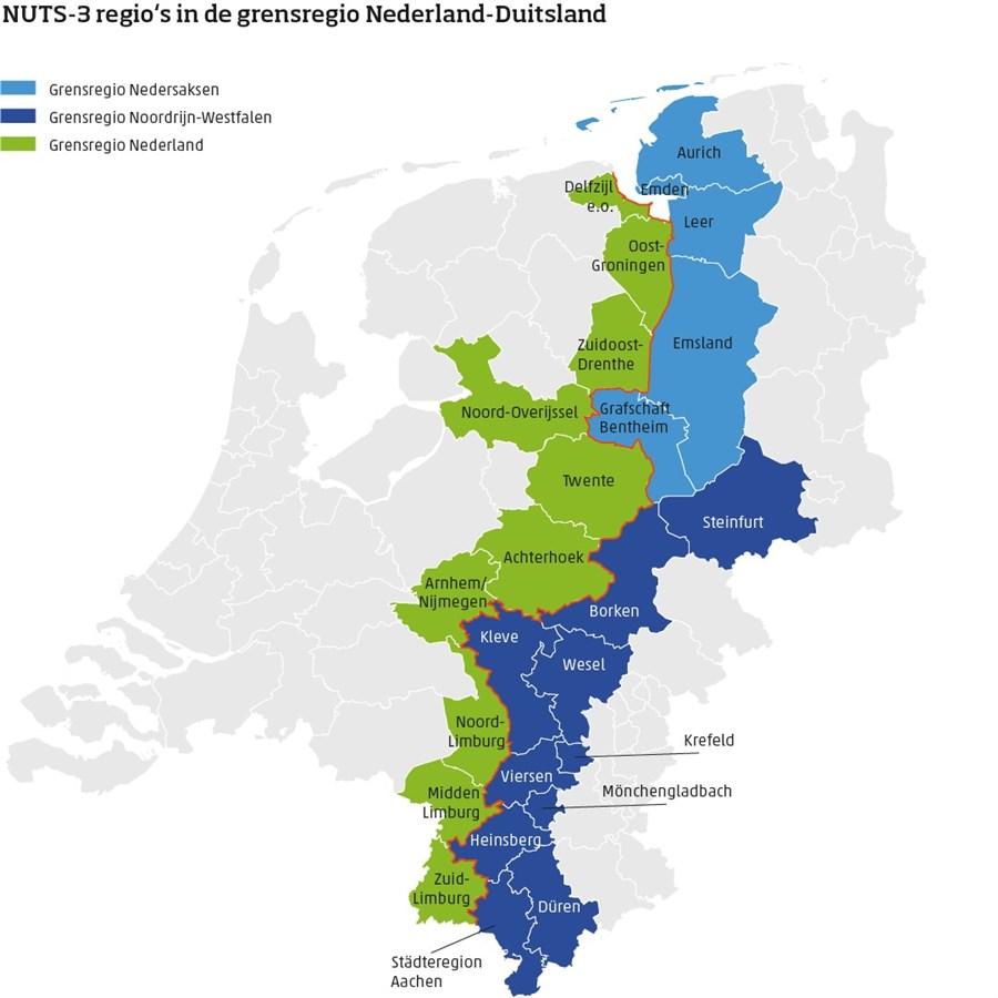 Infographic, NUTS-3 regio's in de grensregio Nederland-Duitsland