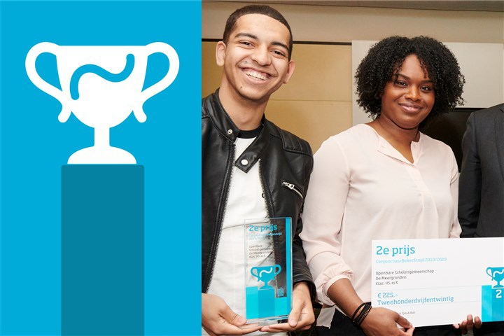Leden van de winnaars van de 2e prijs naast logo Conjunctuurbekerstrijd
