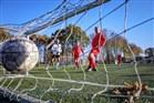 Op een kunstgrasveldje spelen een aantal krasse knarren bij voetbalclub FC Tilburg een partijtje wandelvoetbal