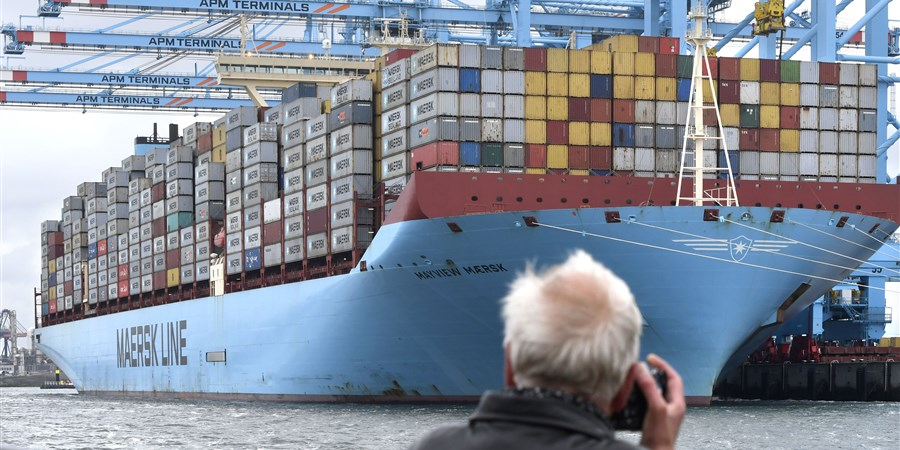 Containerschip in haven