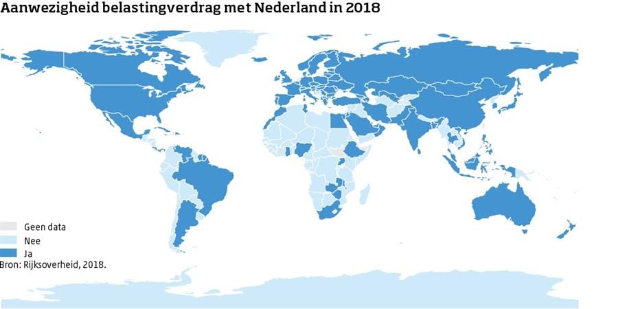 Infographic, Aanwezigheid belastingverdrag met Nederland in 2018