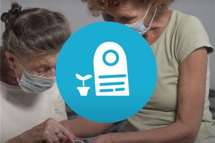 patient en medicus met logo grafsteen er overheen geplakt