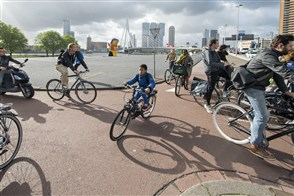 People on bicycles on their way to work