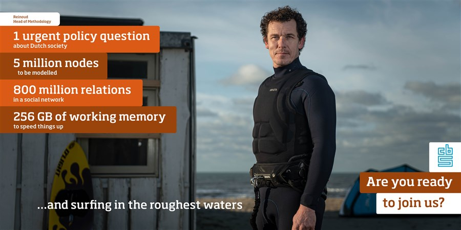 Reinoud (on the beach), Head of Methodology, 1 urgent policy question about Dutch society, 5 million nodes to be modelled, 800 million relations in a social network, 256 GB of working memory to speed things up and surfing in the roughest waters. Are you ready to join us?