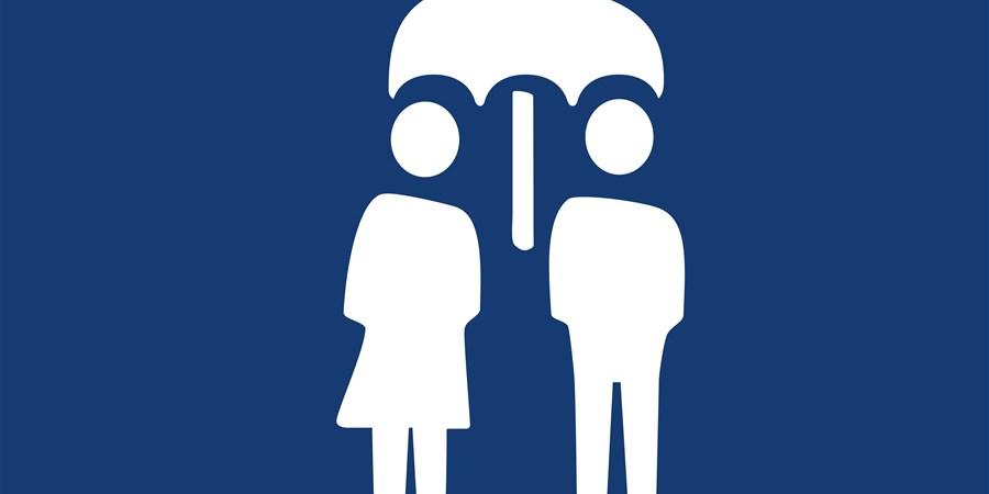 icoon poppetjes onder paraplu