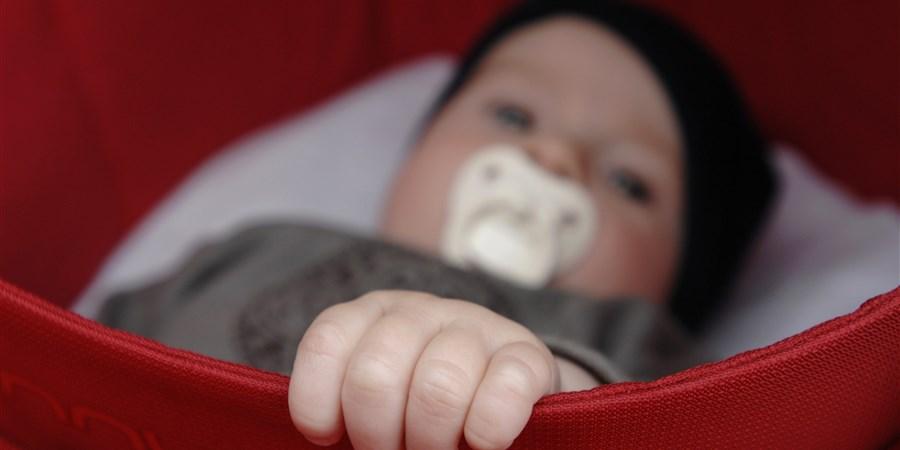 Baby houdt in de kinderwagen de rand met zijn handje vast. Foto: Amber Beckers/Hollandse Hoogte