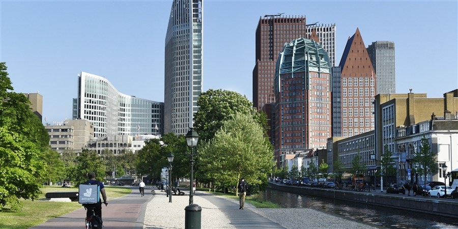 Centrum Den Haag diverse hoge gebouwen met daarin ministeries