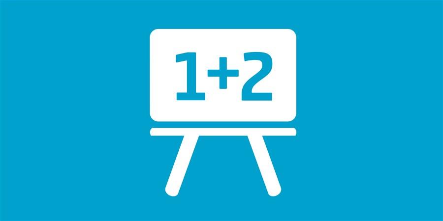 Thumbnail thema onderwijs cartoonesk schoolbord met 1+ 2 er op