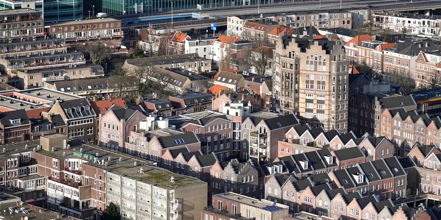 Luchtfoto van centrum van Den Haag