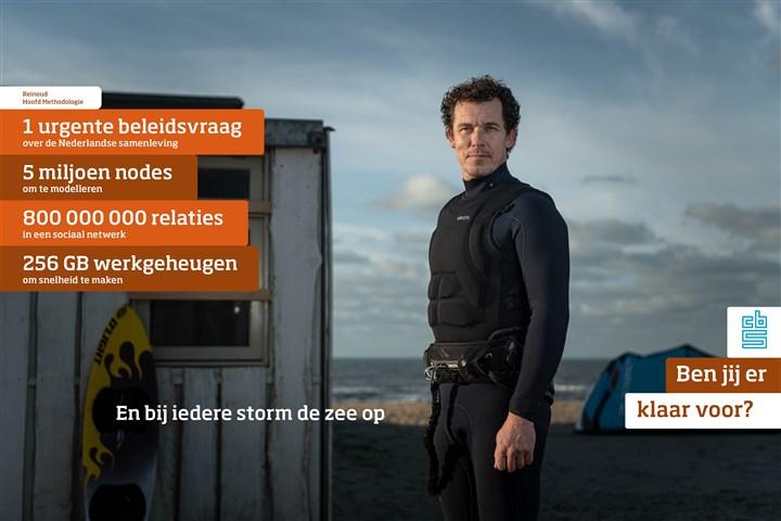 Reinoud (op het strand), hoofd Methodologie 1 urgente beleidsvraag over de Nederlandse samenleving 5 miljoen nodes om te modelleren 800 000 000 relaties in een sociaal netwerk 256 GB werkgeheugen om snelheid te maken En bij iedere storm de zee op.  Werken bij het CBS! Ben jij er klaar voor?