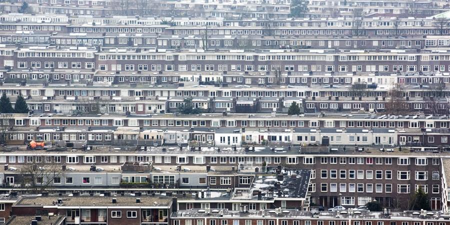 Uitzicht op de Amsterdamse Rivierenbuurt vanuit de Mondriaantoren.
