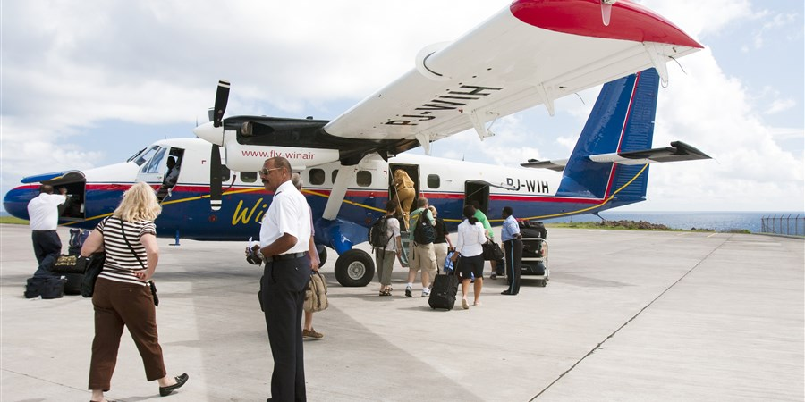 Small passenger plane on Statia Airport