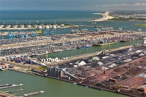 Arial view of the port of Rotterdam, oil tanks, containers and mineral depots