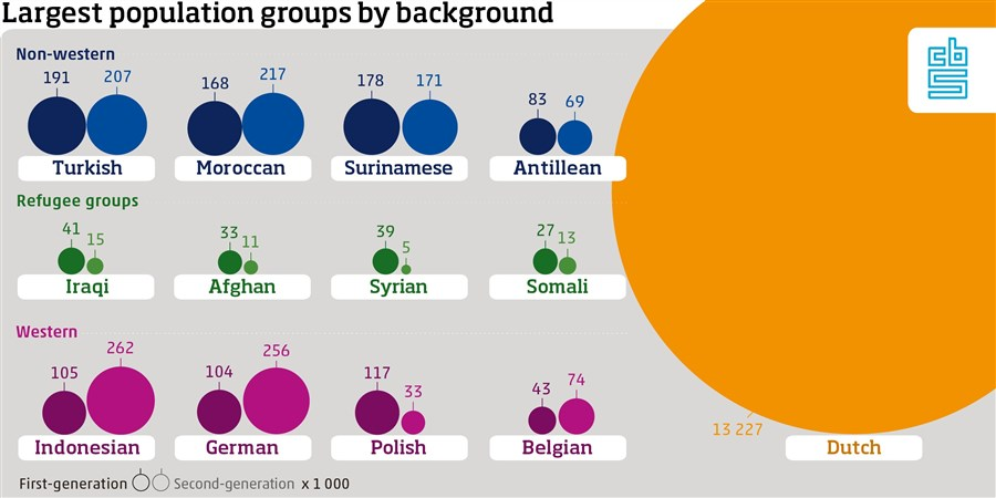 Infographic largest population groups by background