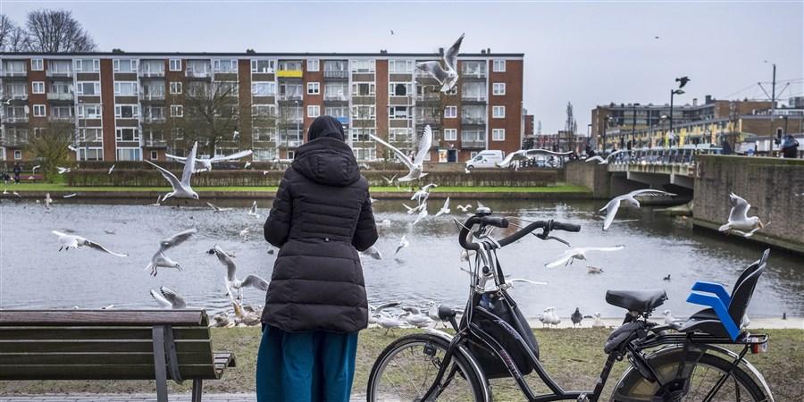 vrouw voert vogels