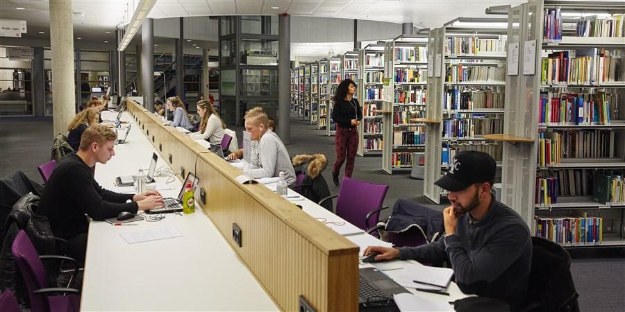 Bibliotheekbezoekers aan het studeren aan lange tafels in bibliotheek