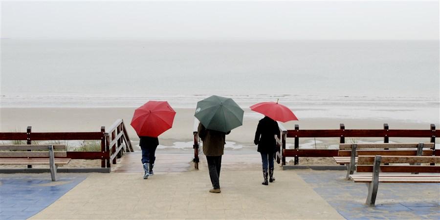Strandwandelaars met paraplu