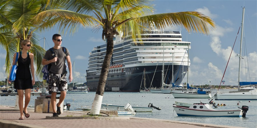 Cruise Ship called Noordam from The Holland America Line moored in port.