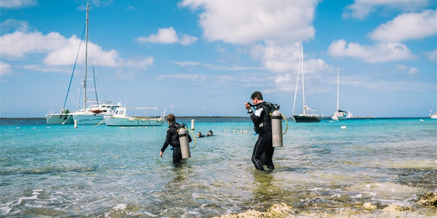Divers entering the water on Bonaire